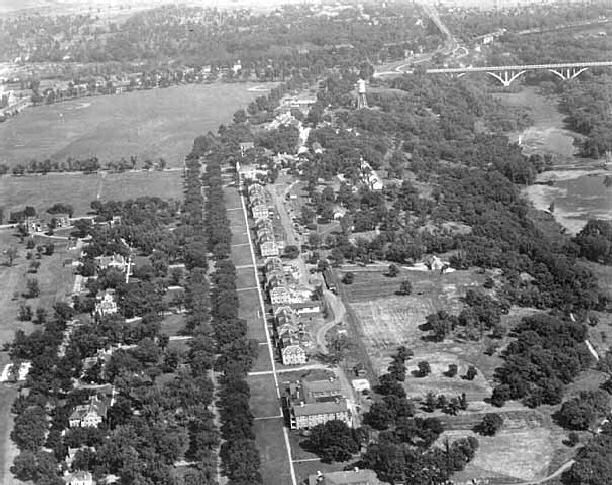 Aerial view of Taylor Avenue looking NE towards St Paul